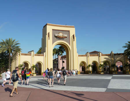 ORLANDO, FLORIDA—Main entrance to the Universal Studios in Orlando, Florida, taken in August 2015.