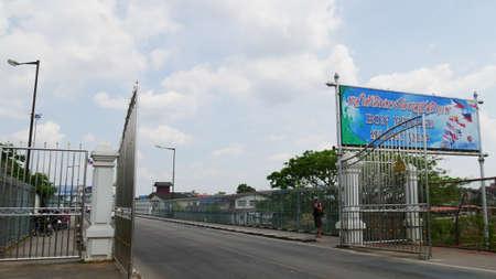SU-NGAI KOLOK, THAILAND—MARCH 2016: Gate to Rantau Panjang at the  Malaysian border, seen from the Su-ngai Kolok, the last town of Thailand.