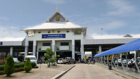SU-NGAI GOLOK, THAILAND—Travelers must have their passports stamped for exit or entry at the Su-ngai Golok Boundary Post to leave or enter from Rantau Panjang, Malaysia. Photo taken in March 2016.