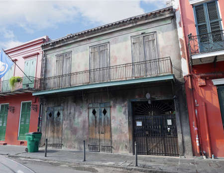 NEW ORLEANS, LOUISIANA—JANUARY 2017: Old buildings with balconies and iron railings at the French Quarter in New Orleans, Lousiana