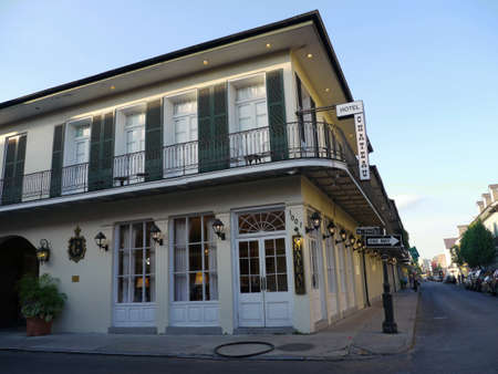 NEW ORLEANS, LOUISIANA—Hotel Chateau at the corner of St. Philip Street at the French Quarter, New Orleans early one morning in December 2016.