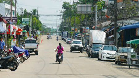 SU-NGAI KOLOK, THAILAND—MARCH 2016: A typical scene at one of the streets of Su-ngai Kolok, the border town of Thailand-Malaysia border in Narathiwat Province.