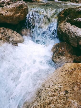 Waterfalls at the Neuschwanstein castle, Germany. Stock fotó