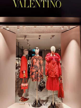 Zurich, Switzerland - June 26, 2019: Valentino store windows in Zurich.