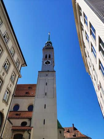 Munich, Germany - June 28, 2019: Tower of St. Peters Church, Munich