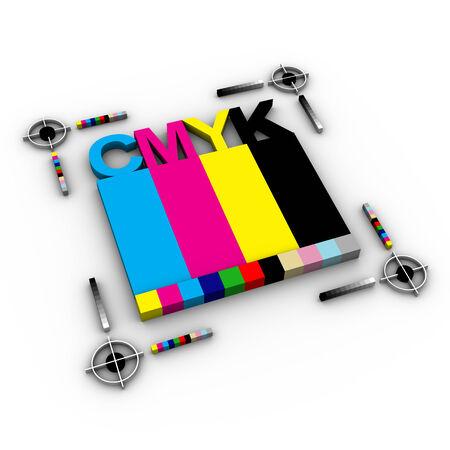 cmyk abstract: CMYK letters design art image