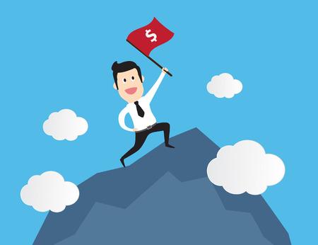manos unidas: Exitoso hombre de negocios de pie con bandera roja en la montaña. concepto de negocio de dibujos animados ilustración vectorial idea creativa