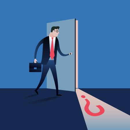 Business-Mann, der die geheime Tür zu öffnen. Business-Konzept Illustration