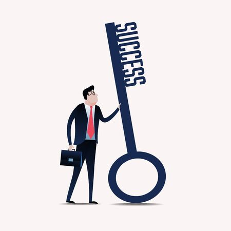key to success: Businessman with a key success. business concept illustration Illustration