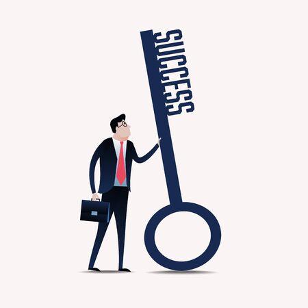 la union hace la fuerza: Hombre de negocios con una clave de éxito. ilustración concepto de negocio