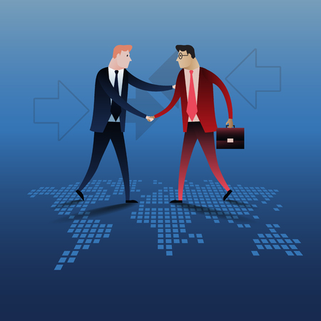 joined hands: Apretón de manos de dos hombres de negocios con el mapa del mundo de fondo. concepto de negocio, ilustración, diseño
