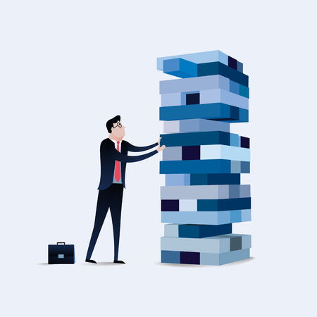 Businessman gambling placing block stack on a tower. Business concept illustration