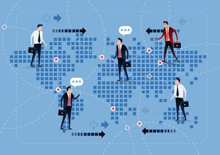 manos unidas: oferta de la red de negocios en el fondo mapa del mundo. El acuerdo de la l�nea. concepto de negocio ilustraci�n, dise�o de im�genes predise�adas Vectores