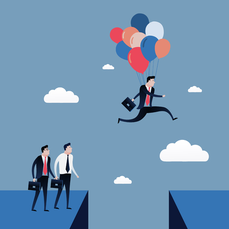 businessman jumping: Businessman jumping to the blue sky with balloons. Business concept illustration