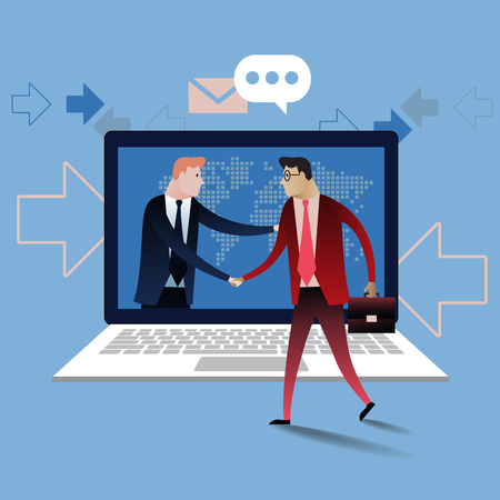 manos unidas: Handshake of two business people with laptop background. On line deal. Business concept illustration  design