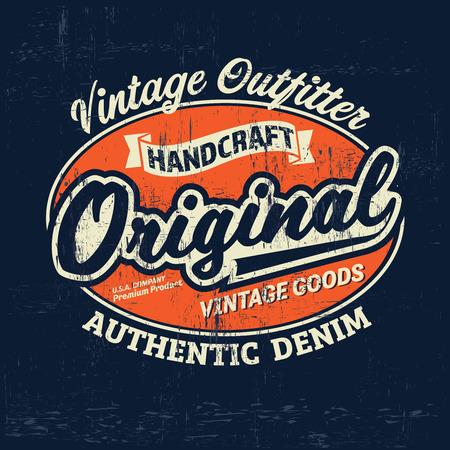 Typography vintage Denim brand print for t-shirt. Retro artwork illustration Çizim