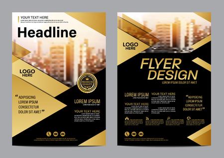Gold Brochure Layout design template. Annual Report business Leaflet cover Presentation Modern background. illustration vector Çizim