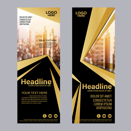 Gold Roll up layout template.Flag flyer business banner backdrop design. vector illustration background