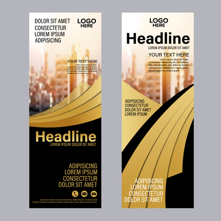 Gold Roll up layout template. Flag flyer business banner backdrop design. vector illustration background