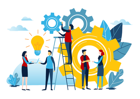 Mini people create idea to success. Business illustration vector graphic on white background. Flat cartoon miniature character.