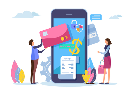Shopping online. Digital payment with smartphone. Paid by credit card. Shopping on mobile. Flat cartoon miniature. Business illustration vector graphic on white background.
