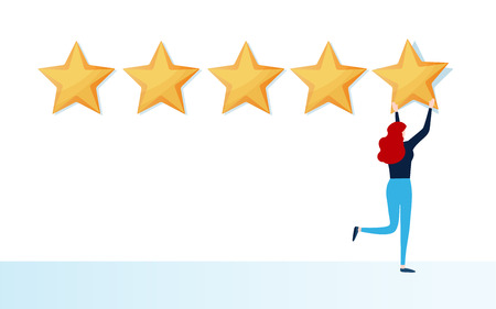Customer giving five star rating. User feedback review scroll. Cartoon illustration vector graphic on white background. Ilustrace