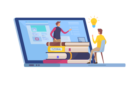 Online Education, Training course. Tutorials, e-learning, Smart knowledge. Cartoon miniature illustration vector graphic on white background. Illustration