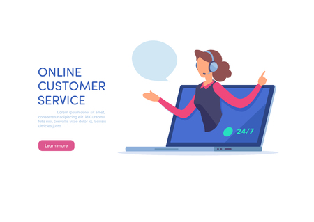 Online customer service. Call center support. Cartoon miniature  illustration vector graphic on white background.  Web banner