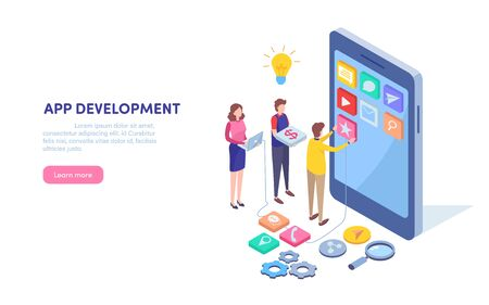 App development. Programmer, Developer. Mobile application. Smartphone technology. Isometric cartoon miniature  illustration vector graphic on white background. Ilustração