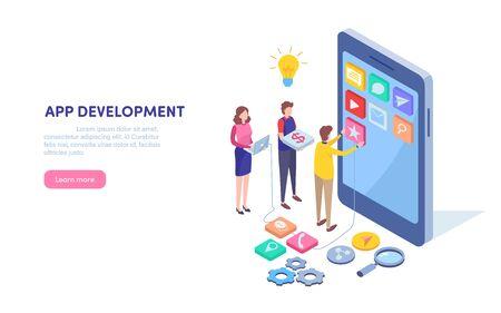 Desarrollo de aplicaciones. Programador, Desarrollador. Aplicación movil. Tecnología de smartphone. Gráfico de vector de ilustración en miniatura de dibujos animados isométrica sobre fondo blanco.