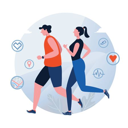Running. Jogging. World Health Day. Healthy lifestyle. Couple. People vector illustration. Flat cartoon character graphic design. Landing page template, banner, flyer, poster, web page 向量圖像