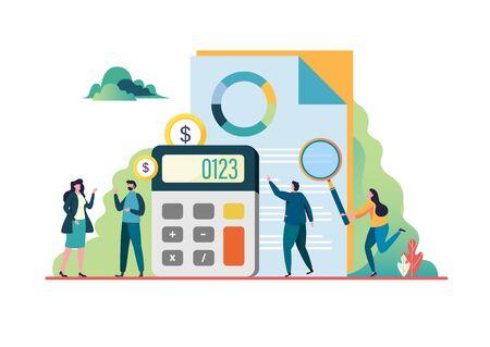 Financial audit. Consultant meeting. Business concept. Flat vector illustration modern character design. For a landing page, banner, flyer, poster, web page. Vektorgrafik
