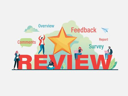 Customers giving five star rating. User feedback review scroll. Flat vector illustration modern character design. For a landing page, banner, flyer, poster, web page.