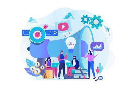 Team di strategia di marketing digitale. Gestore di contenuti. Progettazione grafica del personaggio dei cartoni animati piatto. Modello di pagina di destinazione, banner, volantino, poster, pagina web Vettoriali