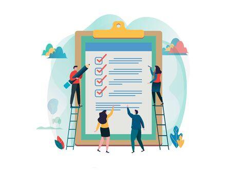 Mensen vullen checklist op een klembord. Online enquete. een formulier invullen. onderzoek, verkiezing. Platte cartoon karakter grafisch ontwerp. Bestemmingspaginasjabloon, banner, flyer, poster, webpagina