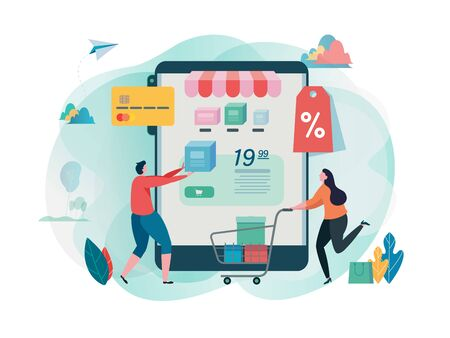 Buy online shop. Shopping on mobile. Online store. internet marketing. Online payment. Flat cartoon character graphic design. Landing page template,banner,flyer,poster,web page