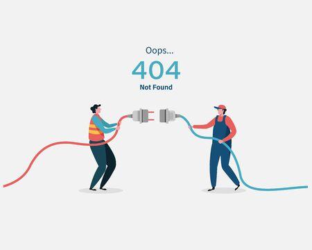 404 error page not found System updates, uploading, operation, computing,installation programs. system maintenance. Flat vector illustration modern character design. For a landing page, web p Vektorgrafik