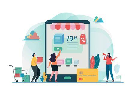 Comprar tienda online. Compras en el móvil. Tienda en línea. mercadeo por Internet. Pago en línea. Diseño gráfico de personajes de dibujos animados planos. Plantilla de página de destino, banner, volante, cartel, página web