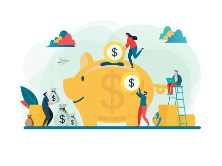 Save money concept. Business finance and investment. Large piggy bank. Flat cartoon character graphic design. Landing page template,banner,flyer,poster,web page