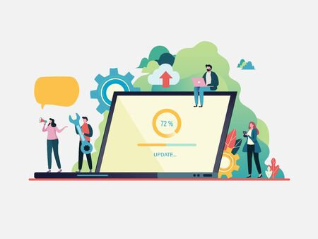 System updates with people updating operation in computing and installation programs. system maintenance. Flat vector illustration modern character design. For a landing page, banner, flyer, web page. Stock Illustratie