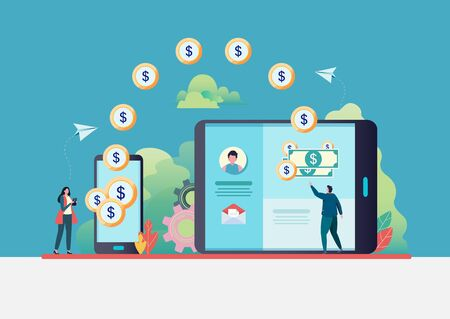 Online money transfer. People send money via smartphone. internet banking. worldwide payment. Flat vector illustration modern character design. For a landing page, banner, flyer, web page.