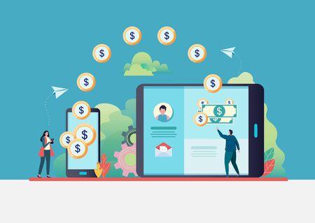 Transferencia de dinero en línea. La gente envía dinero a través de un teléfono inteligente. banca por Internet. pago mundial. Ilustración de vector plano diseño de personajes modernos. Para una página de destino, banner, volante, página web.