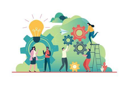 People create idea to success. business concept. Teamwork concept. Team building.  Team metaphor, Together. Flat vector illustration modern character design. For a landing page, banner, flyer, Çizim