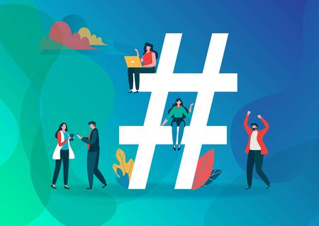 Hashtag Symbol vector illustration. Group of people on social media. Flat cartoon character graphic design. Landing page template,banner,flyer,poster,web page Çizim