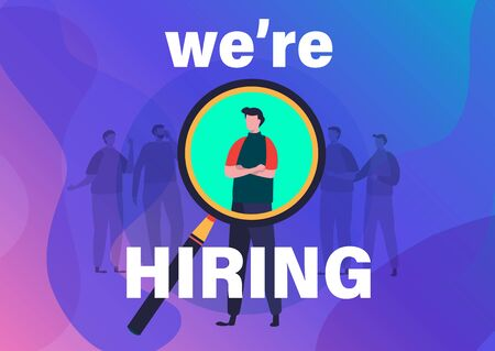 Recruitment concept. We're hiring you vector illustration. Flat cartoon character graphic design. Landing page template,banner,flyer,poster,web page