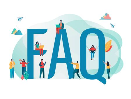 Frequently asked questions concept.  People's with big letter word. Flat cartoon character graphic design. Landing page template,banner,flyer,poster,web page Çizim