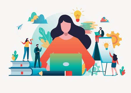 People create idea to success.Flat cartoon character graphic design. Landing page template,banner,flyer,poster,web page Çizim