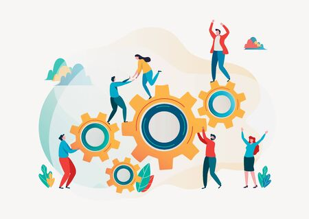 Teamwork concept. Team building.  Team metaphor. Together concept. Vector illustration. Flat cartoon character graphic design. Landing page template,banner,flyer,poster,web page Çizim
