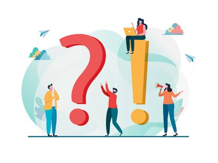 Frequently asked questions concept. Question answer metaphor. Vector illustration background. Flat cartoon character graphic design. Landing page template,banner,flyer,poster,web page