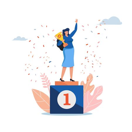 The women standing on a winners podium with a golden cup. Women day. People vector illustration. Flat cartoon character graphic design.